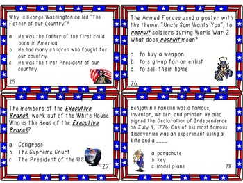U.S. Government, History, Culture, Customs, Traditions-Task Cards 3rd,4th,5th