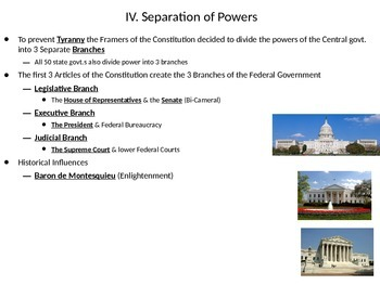 U.S. Government: Separation of Powers into the 3 Branches