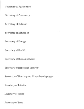US Government: The Executive Branch- Cabinet Project