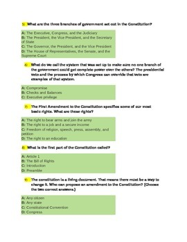 U.S. Government The U.S. Constitution Quiz for 4th Grade