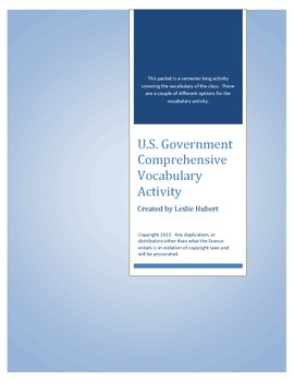 U.S. Government Vocabulary Activity