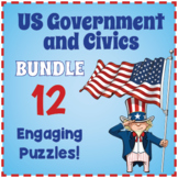 US GOVERNMENT & CIVICS - 10 Vocabulary Puzzle Worksheet Activities