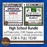 US Government and Economics Interactive Note-taking Activities Bundle