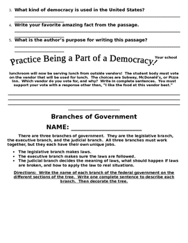 US Government and Symbols Packet