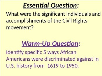 US HIS UNIT 13 LESSON 1: The Civil Rights Movement Begins POWERPOINT