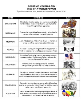US HISTORY - Academic Vocabulary Terms - Rise to a World Power