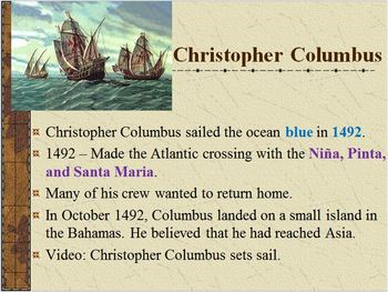 Exploration & Colonization-PowerPoint:Christopher Columbus, the New World