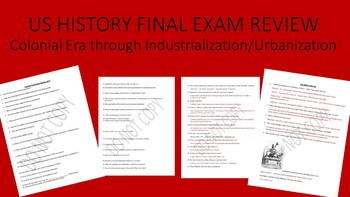 US HISTORY Final Exam Review - KEY INCLUDED - Editable -