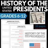 US HISTORY PRESIDENTS INTERACTIVE NOTEBOOK WEBQUEST RESEAR