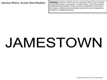 US HISTORY REVIEW - ACROSTIC POEMS [COLONIZATION - REVOLUTION]