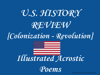 US HISTORY REVIEW - ACROSTIC POEMS [COLONIZATION - REVOLUTION]