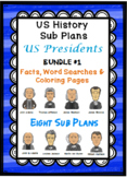 US HISTORY SUB PLANS Presidents Facts, Word Searches & Coloring Pages BUNDLE #1