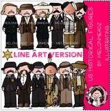 US Historical figures clip art - LINE ART - by Melonheadz