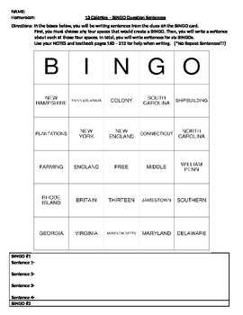 U.S. History - 13 Colonies: BINGO question sentences