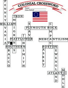 U.S. History: 13 Colonies Colonial Crossword Worksheet/Printable/Homework