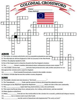 U.S. History: 13 Colonies Colonial Crossword Worksheet/Pri