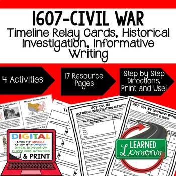 US History 1609-Civil War Timeline Relays &  Writing Prompt with Google Link