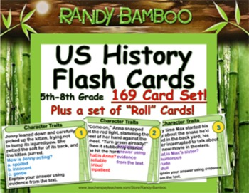 US History -- 169 Flash Cards for 5th-8th Grades (plus 169 Roll Cards)