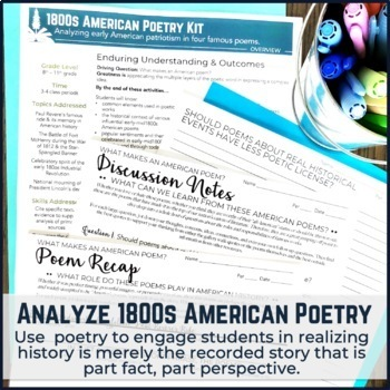 US History 1800s Poetry and Patriotism Mini Unit and Bundle
