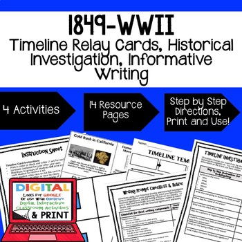 US History 1849-WWII Timeline Relay & Writing with Google Drive Link