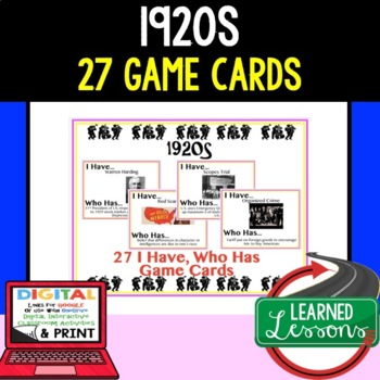US History 1920s Game Cards (27 I Have Who Has )