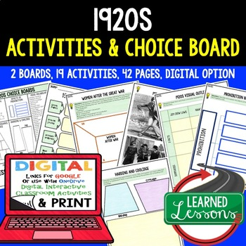 1920s Choice Board & Activity Pages (Print and Google Versions (US History)