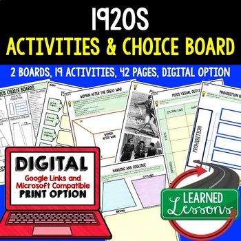 1920s Activities, Choice Board, Print & Digital, Google