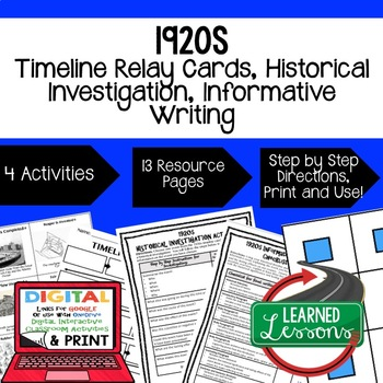 US History 1920s Timeline Relay & Writing with Google Link
