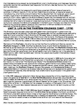 US History 11th grade (1st Sem) Reading Guide Units 1-20 - REGENTS ALIGNED