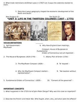 US History 11th grade (1st Sem) Study Guide Units 1-20 - REGENTS ALIGNED