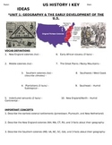 US History - 11th grade - 1st Semester - Study Guide (Units 1-20)