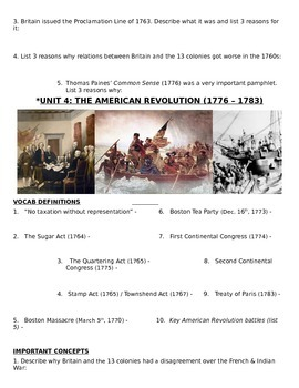 US History - 11th grade - 1st Semester - Study Guide (Units 1-20)