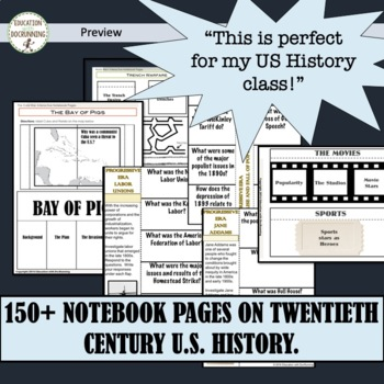 US History Interactive Notebook Organizers 10 Sets! Gilded Age to Cold War