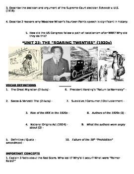 US History 11th grade (2nd Sem) Study Guide Units 21-37 - REGENTS ALIGNED