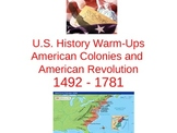 61 American Colonies and American Revolution Bell Ringers or Warm Ups