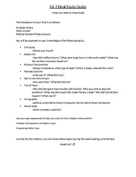 US History 7 Final study guide