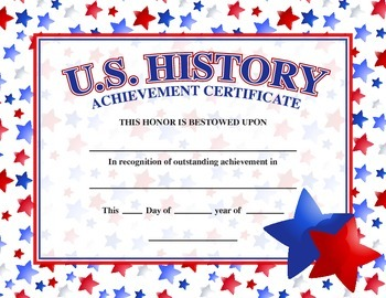us history academic achievement award certificate by jitrbug238 tpt