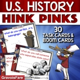 US History Activity BOOM CARDS / TASK CARDS - Hink Pinks f