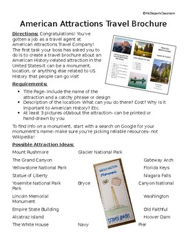 US History: American Attractions Travel Brochure