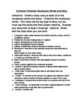 American Colonies Vocabulary and Vocabulary Story Assignment