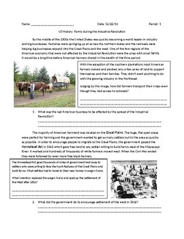 US History: American Farms during the Industrial Revolution