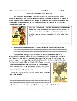 US History: American Home front during WWI