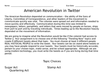 US History - American Revolution in Tweets
