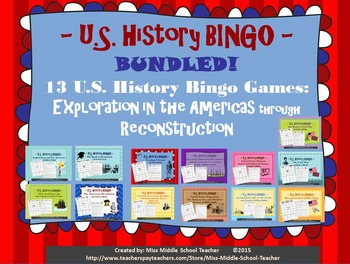 U.S. History BINGO: Exploration in the Americas through Reconstruction BUNDLED!