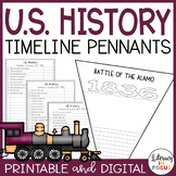 US History Timeline Pennants Including 50 Major Events!
