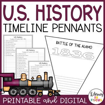 us history timeline pennants editable printable digital tpt
