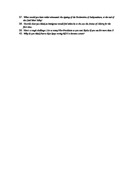 U.S. History Bellwork Questions and Prompts