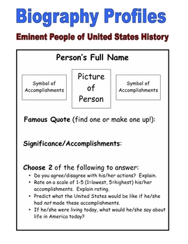 U.S. History Biography Profiles