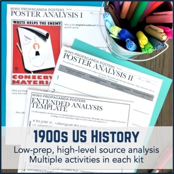1900s US History Activity and Project Packs Bundle