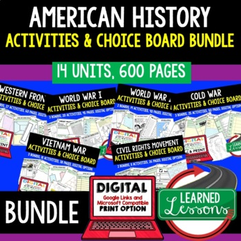 US History Activities Choice Board BUNDLE Paper & Google (US Bundle)